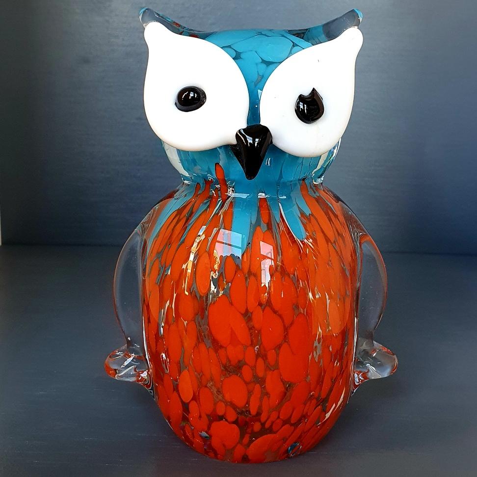 glazen-uiltje-oranje-aqua-kleur