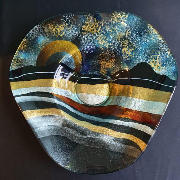 glaskunst-schaal-hoed-zonsondergang