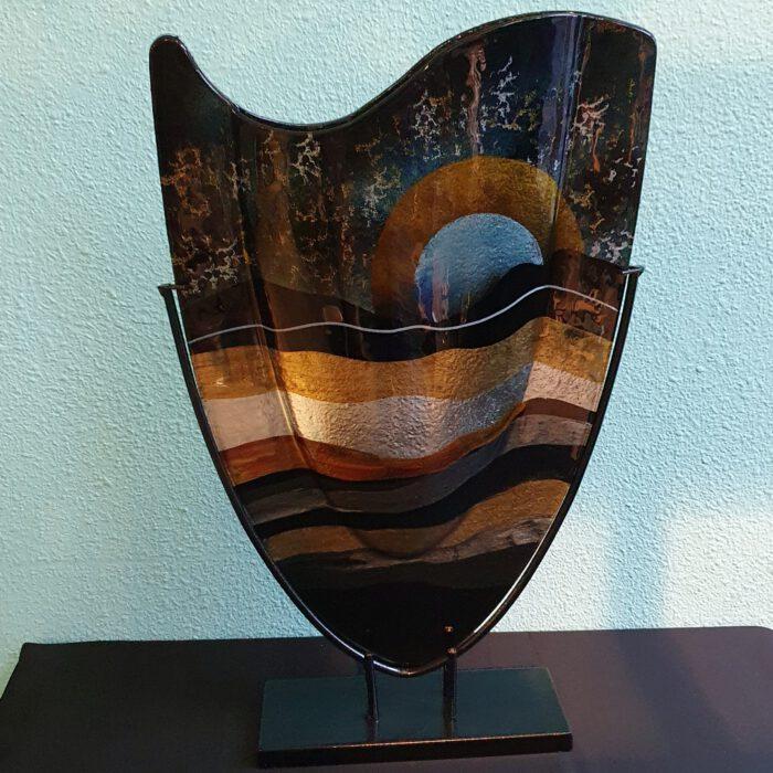 glaskunst-vaas-gekleurd-glas-zonsondergang