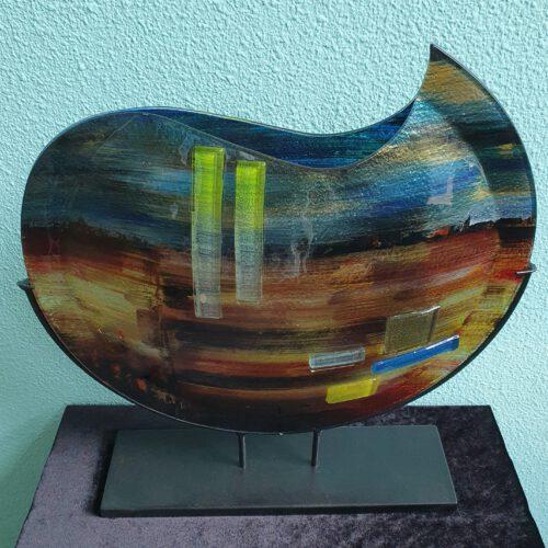 glaskunst grote ronde vaas glasfusion in natuur tinten
