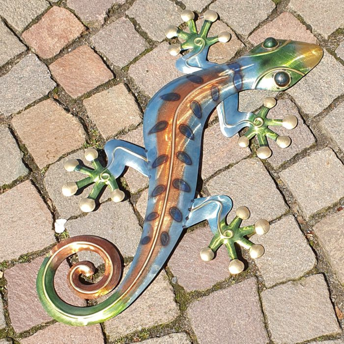 muurdecoratie gekko metaal